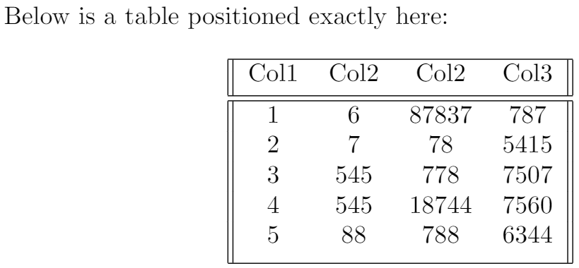 Example of positioning a table