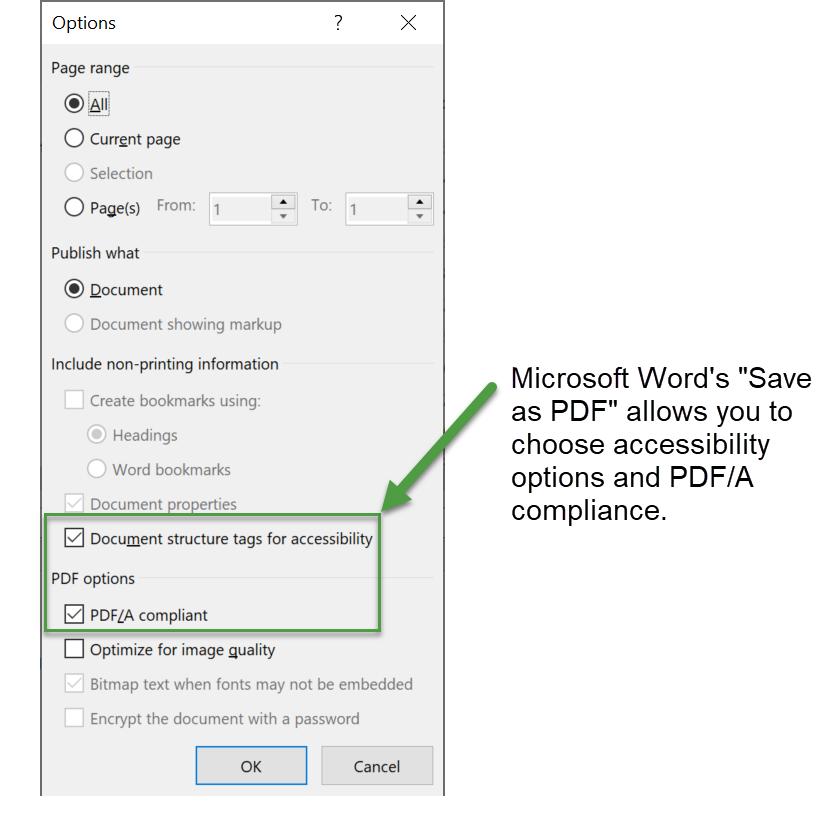 Options dialog box of Microsoft Word's export process