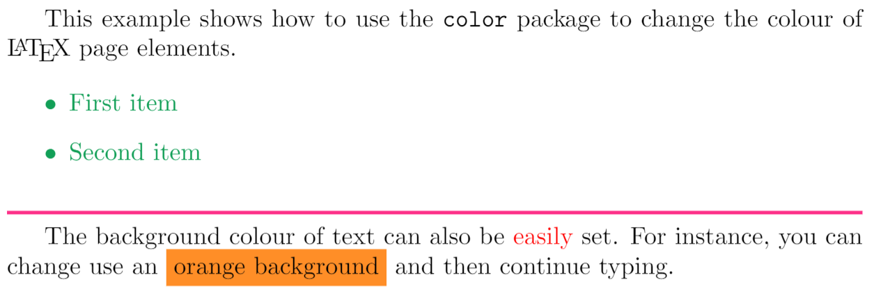 Demonstration of the color package