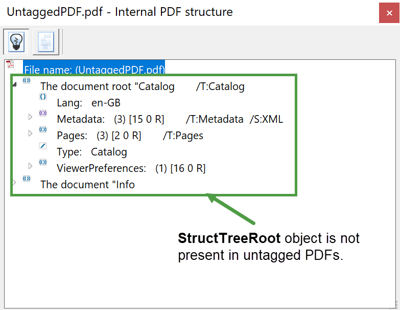 Image showing the absense of StructTreeRoot in an untagged PDF