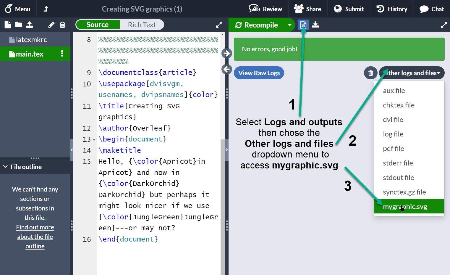 Accessing a generated file on Overleaf