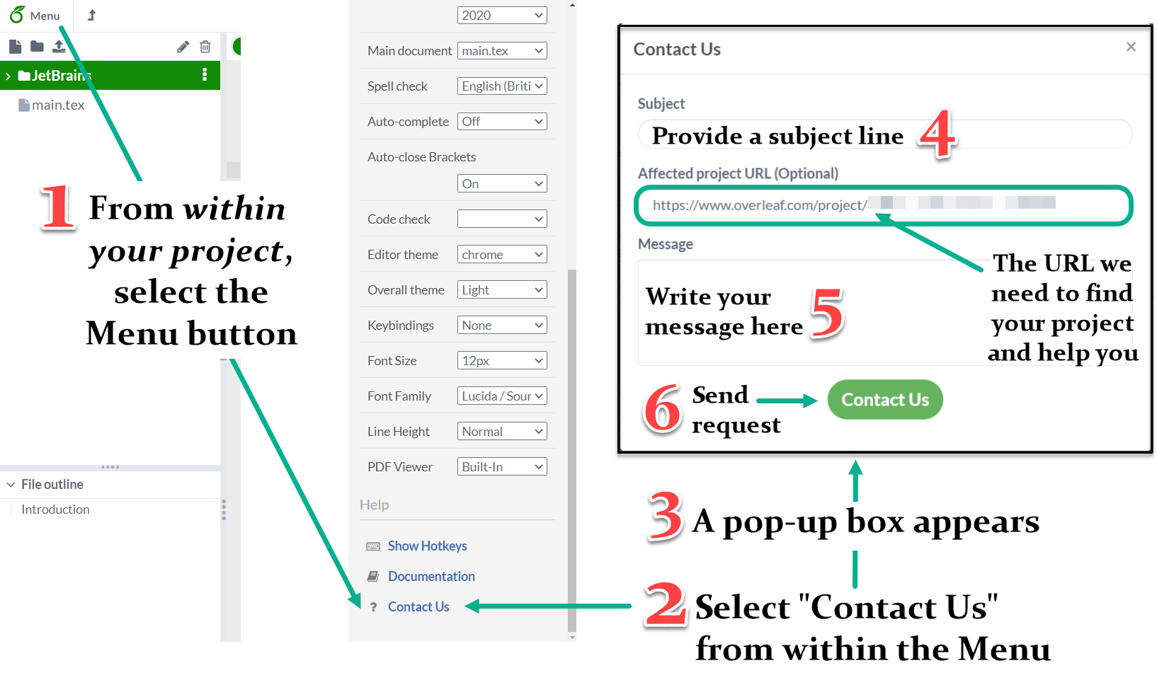 Image showing how to contact Overleaf