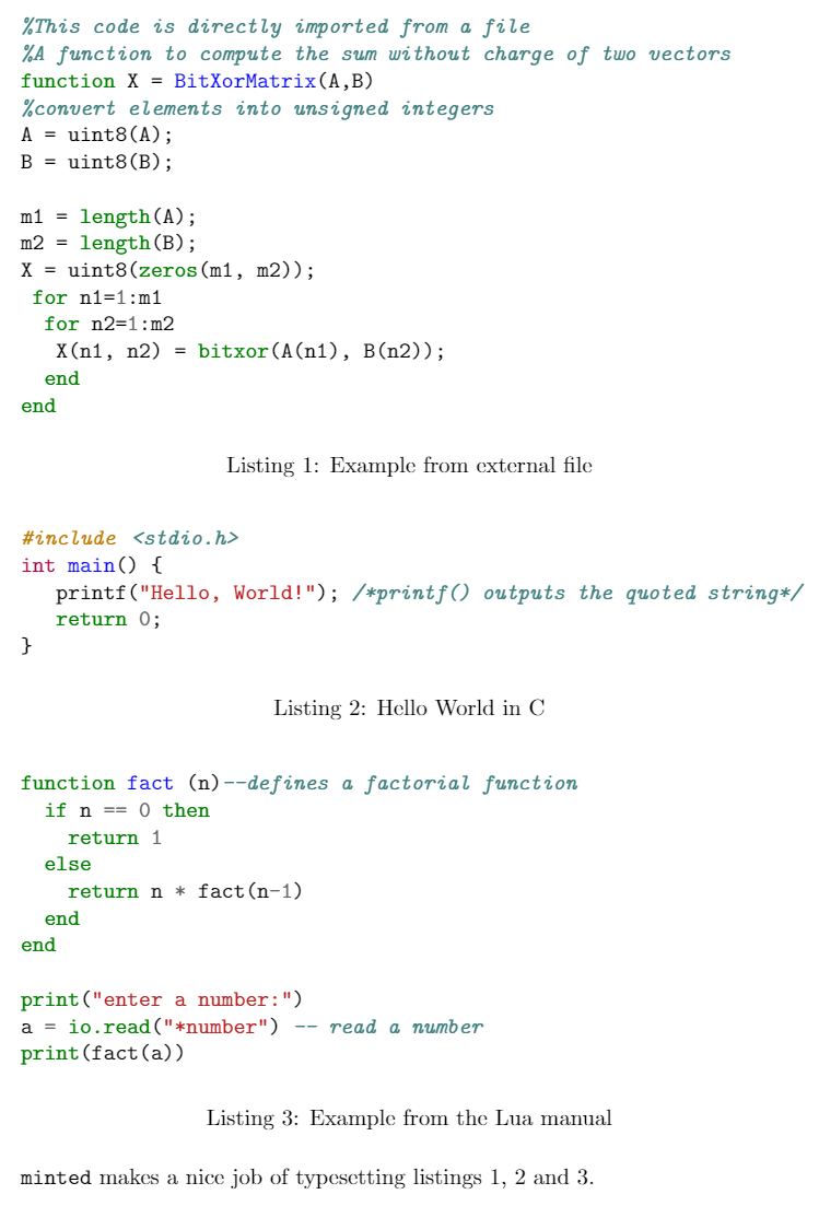 Example listing code fragments