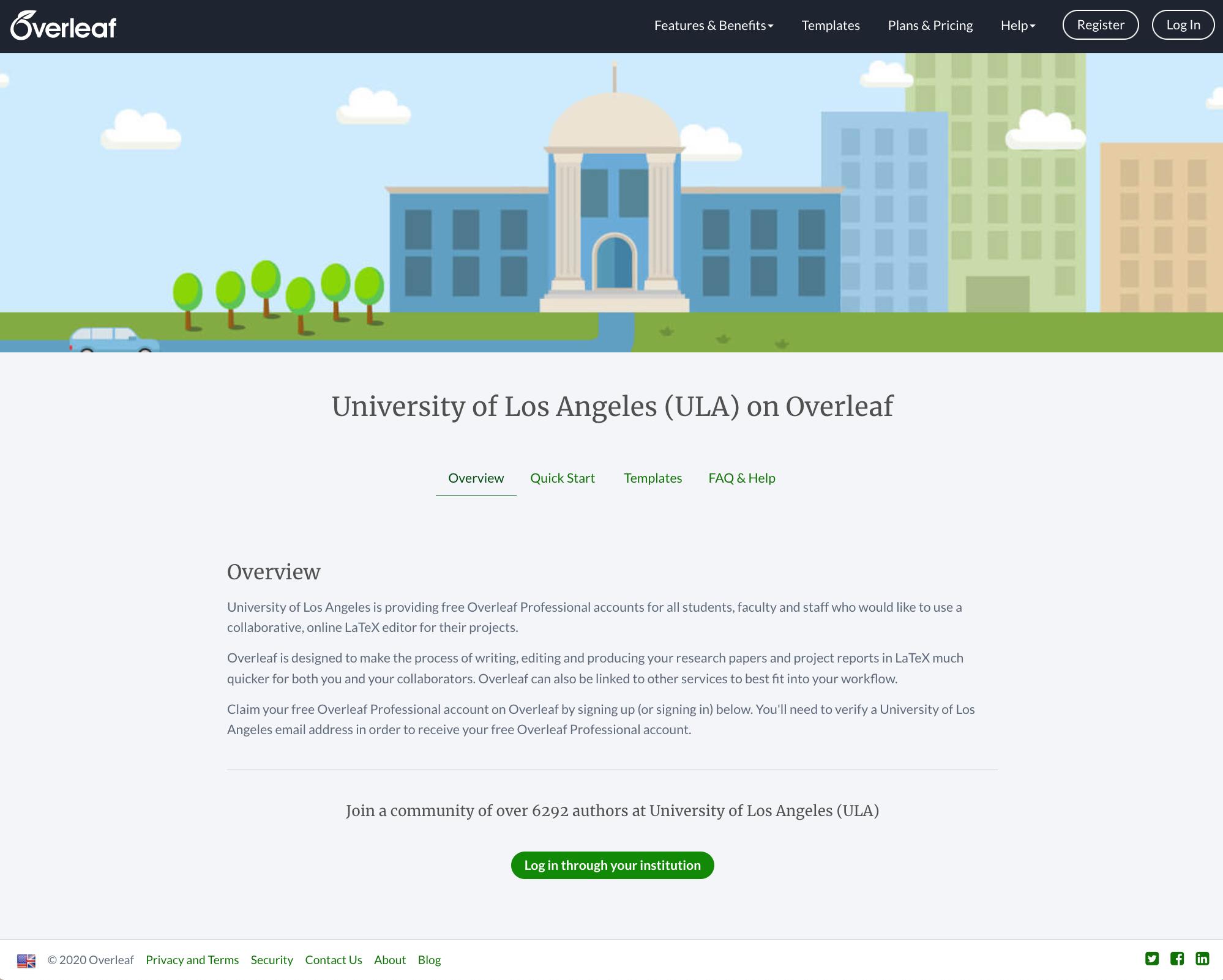 Overleaf institution portal