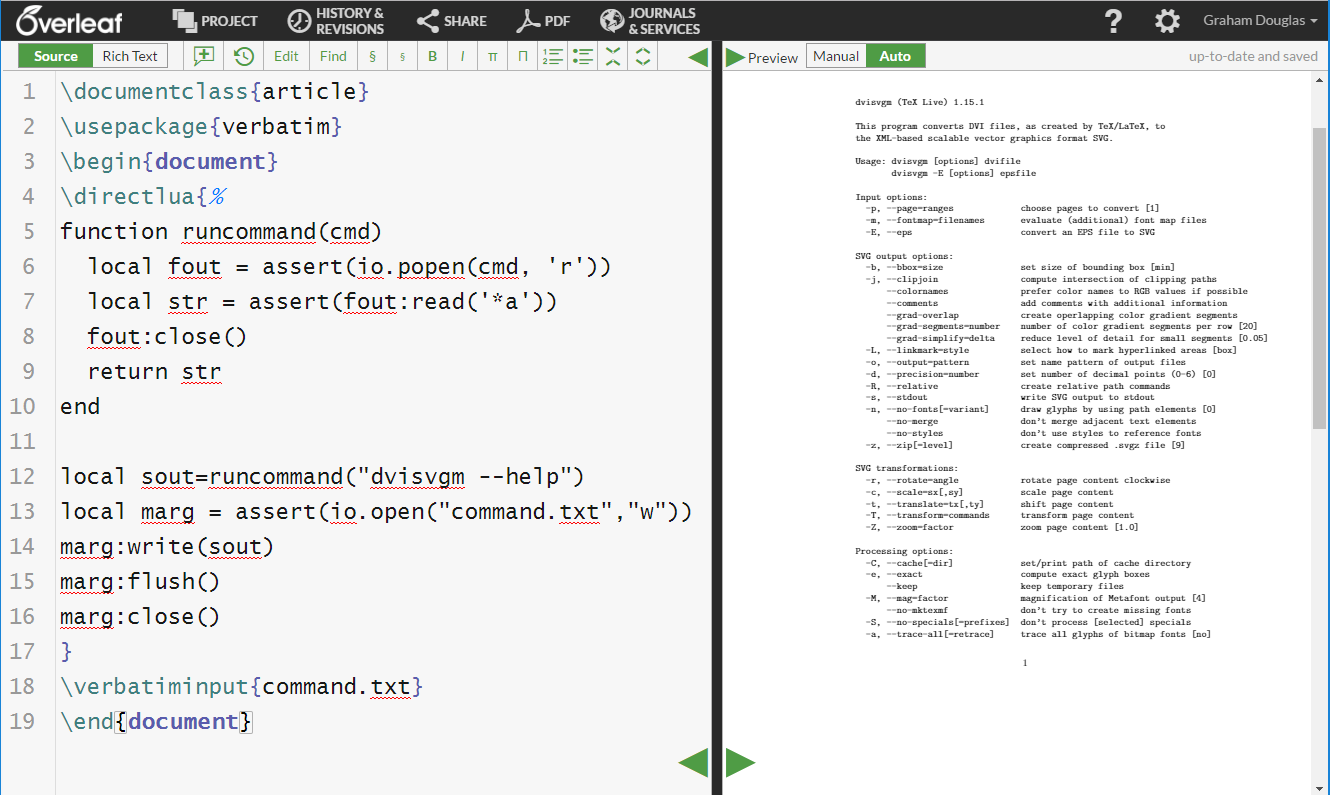 Screenshot of an Overleaf project