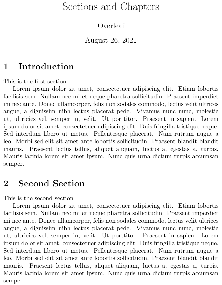Sections and chapters example