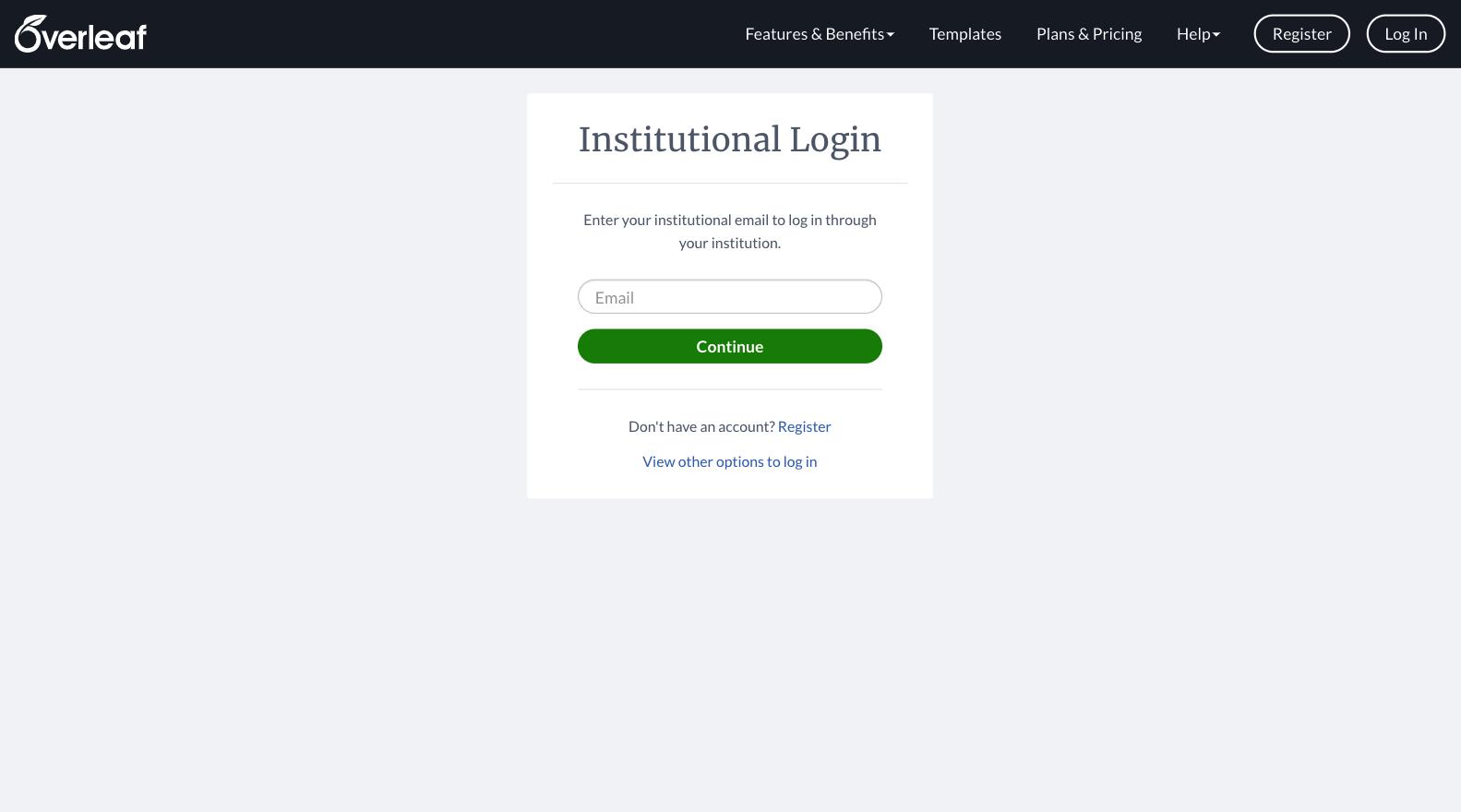 Overleaf institutional login