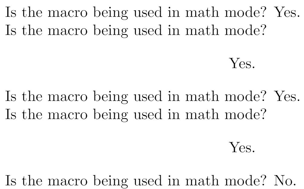 LaTeX macro to test math mode