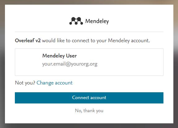 Mendeley credentials screen