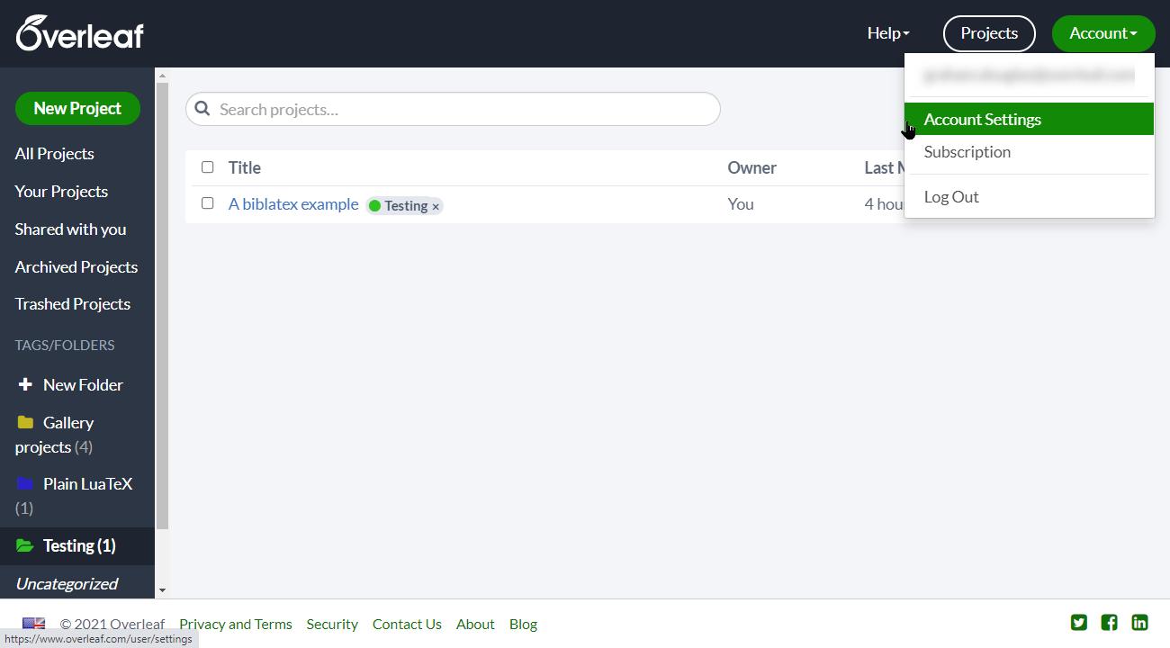 Overleaf account settings