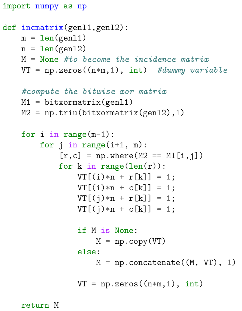 Example displaying the output of the minted package