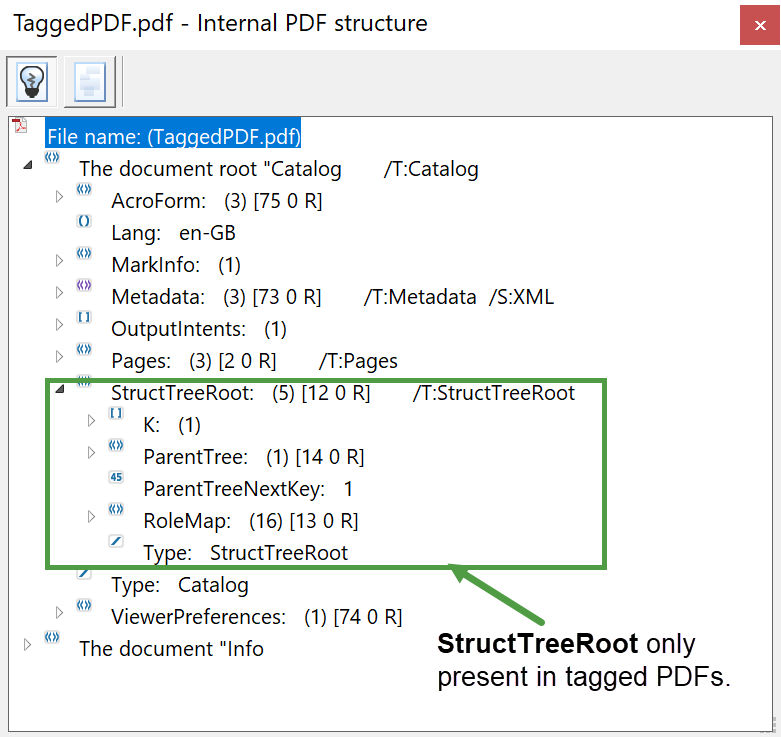 Image showing the StructTreeRoot in a tagged PDF