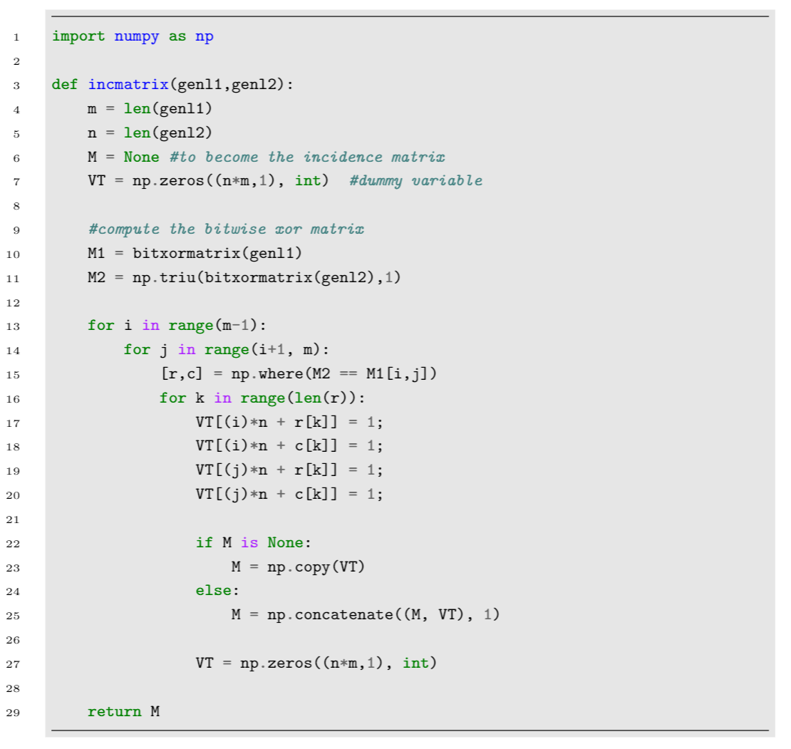 Example applying formatting to typeset code produced by the minted package